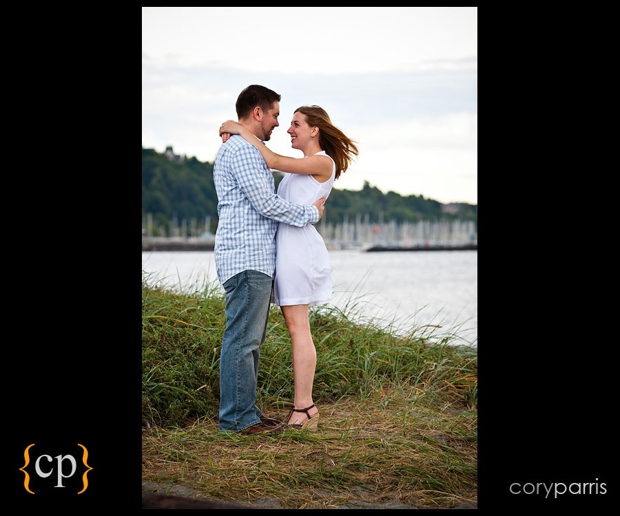 couple portrait at golden gardens in seattle