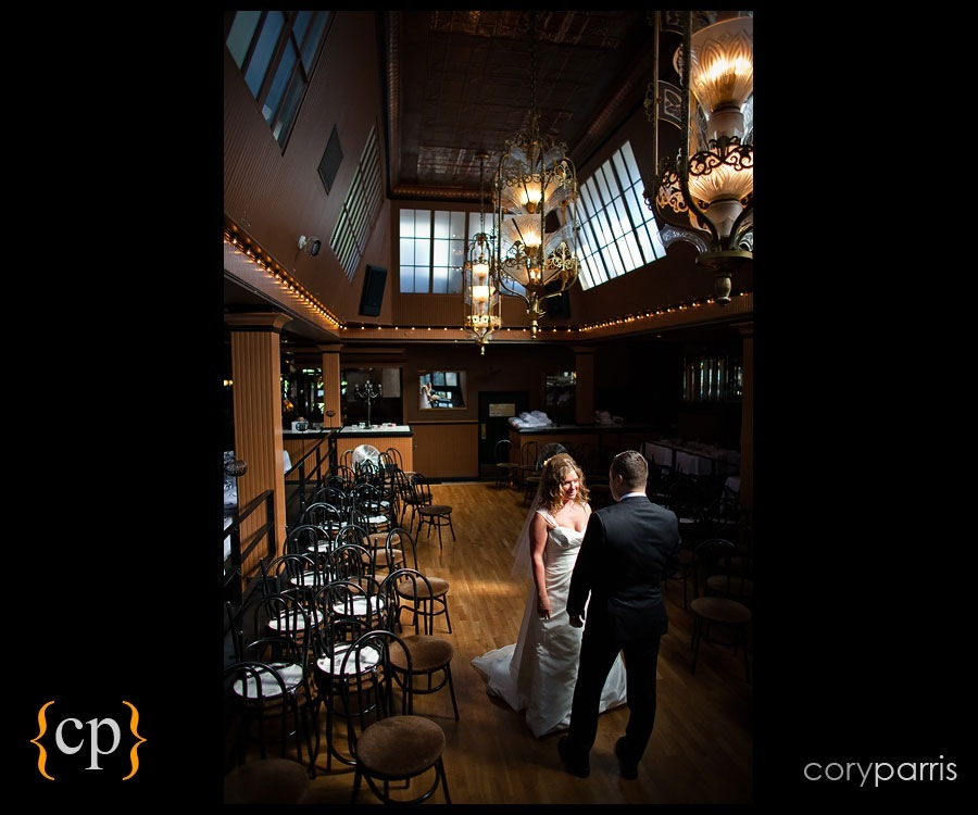 bride and groom first look at the lake union cafe by seattle wedding photographer cory parris