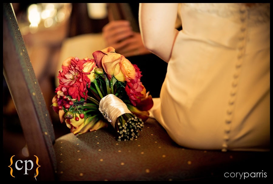 brides dress and bouquet by seattle wedding photographer cory parris