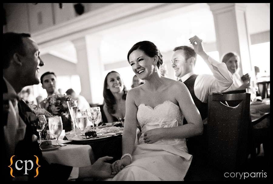 bride laughing during toasts at sand point country club