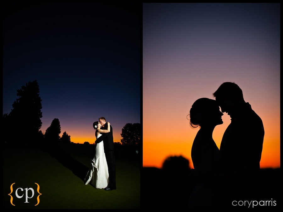 bride and groom sunset portraits by seattle wedding photographer cory parris