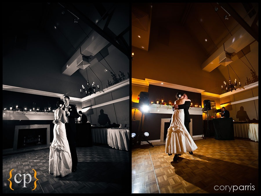 bride and groom first dance at sand point country club in seattle