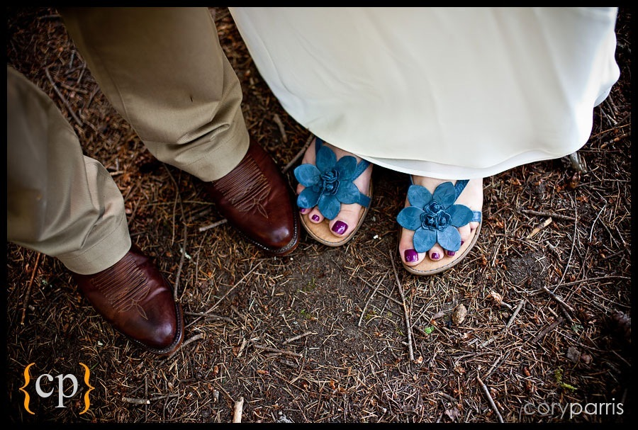 wedding shoes and cowboy boots by seattle wedding photographer cory parris