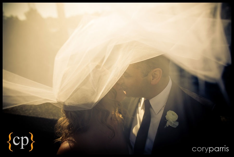 couple portraits with veil and flare by seattle weddiing photographer cory parris