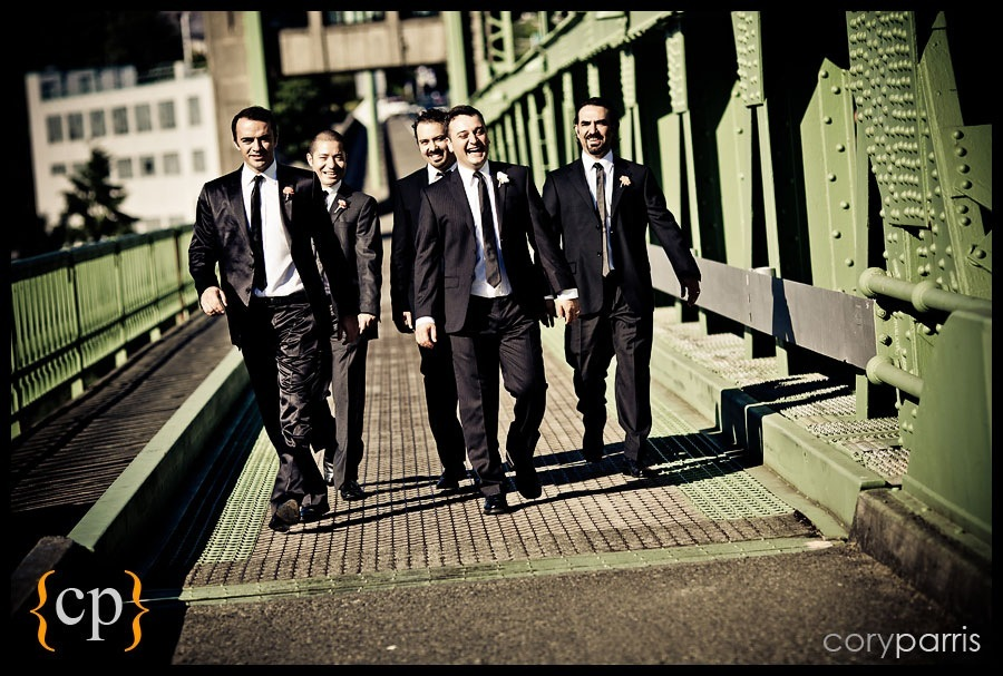 groomsmen on a bridge in seattle by photographer cory parris