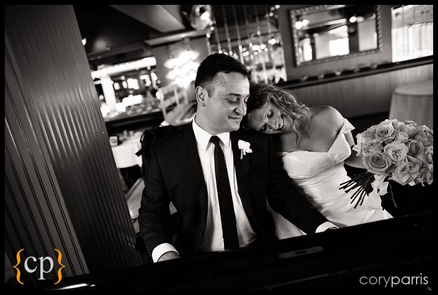 bride and groom together at the Lake Union cafe wedding