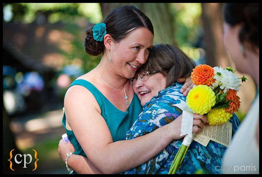 post wedding hug by seattle wedding photographer cory parris