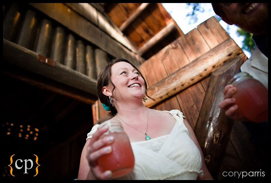 bride with a drink at a wedding at kitsap memorial park