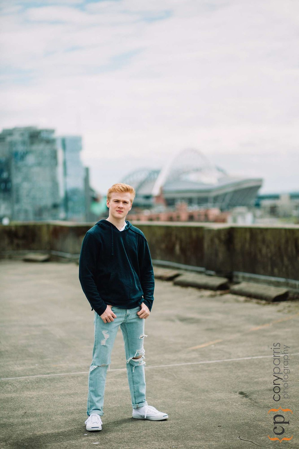 Parking garage senior portraits in seattle
