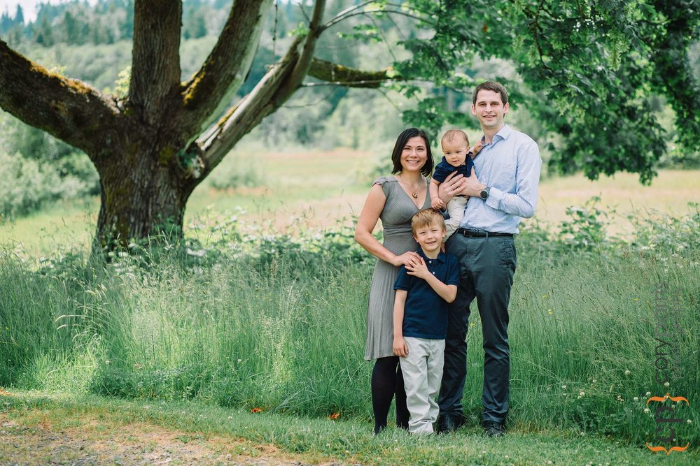 Family portrait at Evans Creek Preserve in Redmond
