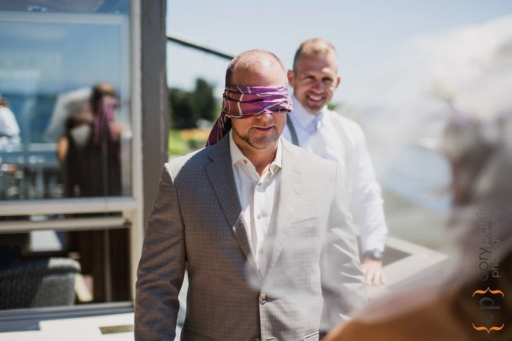 Blindfold wedding first look
