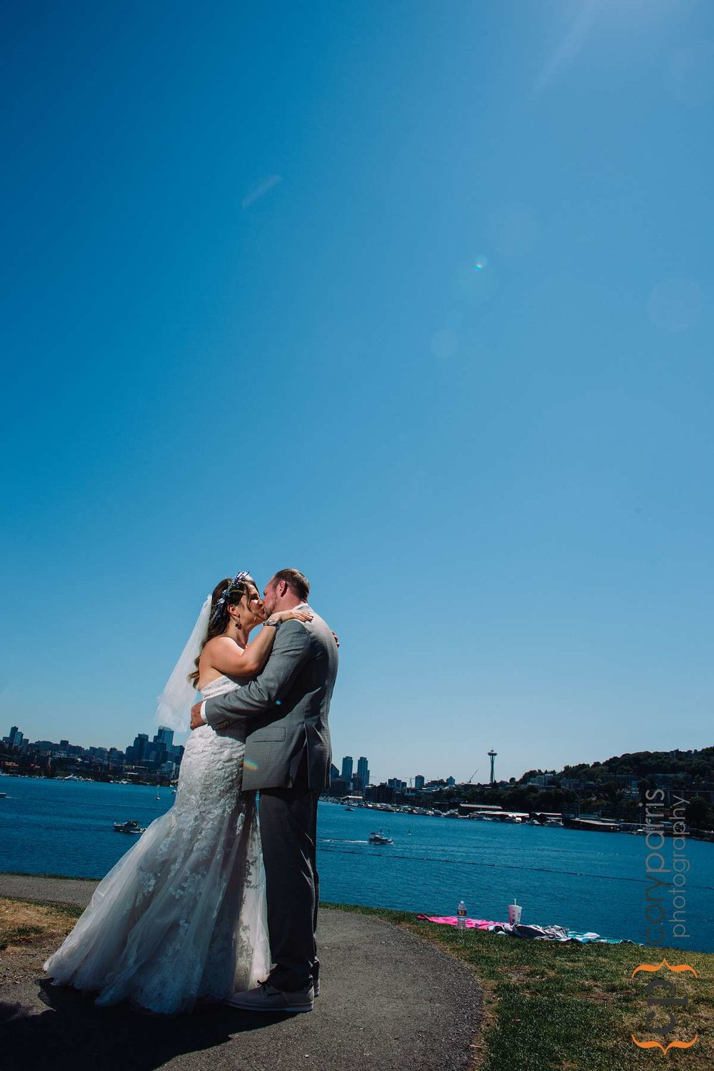 Wedding portrait at Gas Works Park