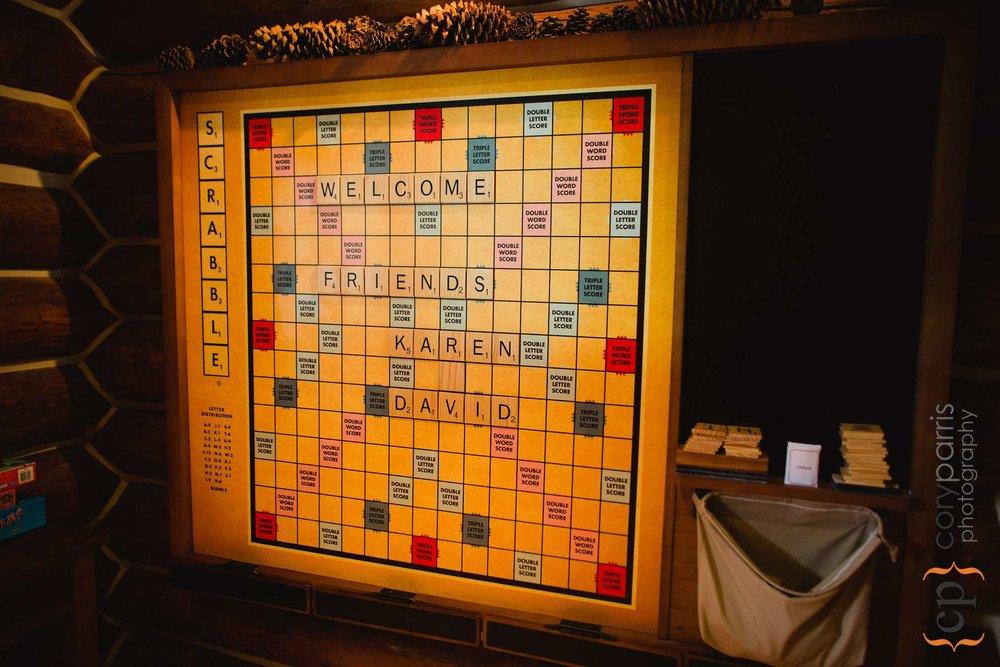 I love the Scrabble board sign!