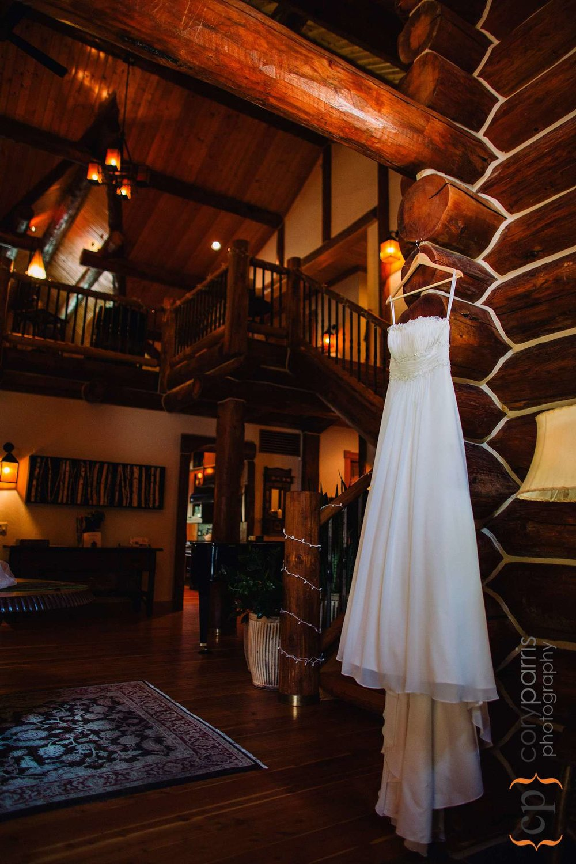 Wedding dress hanging inside the lodge