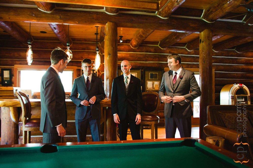 Groom and groomsmen in the lodge