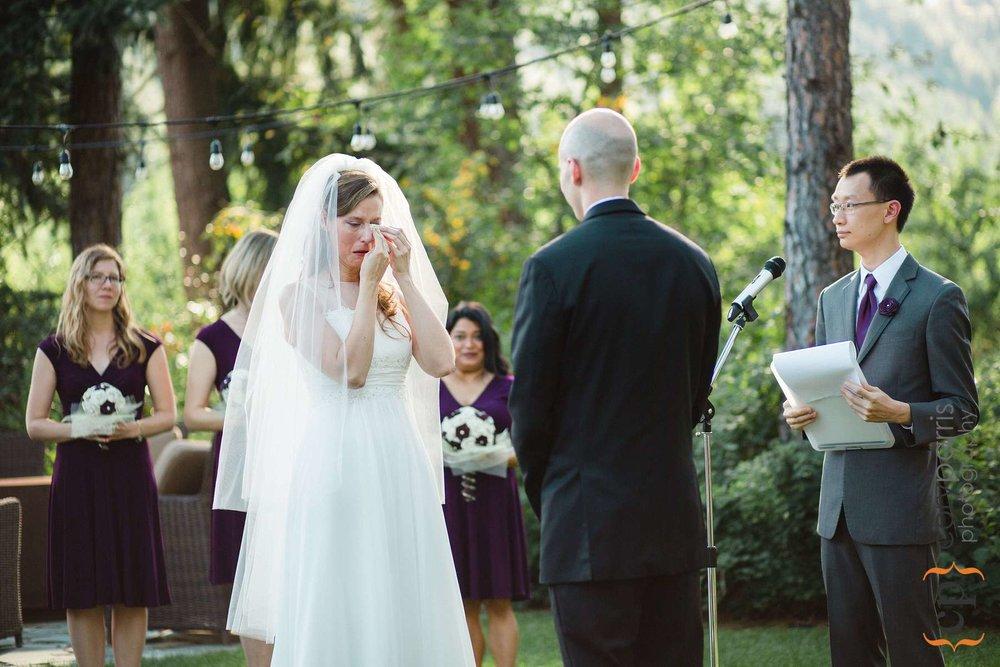 Karen crying during the vows
