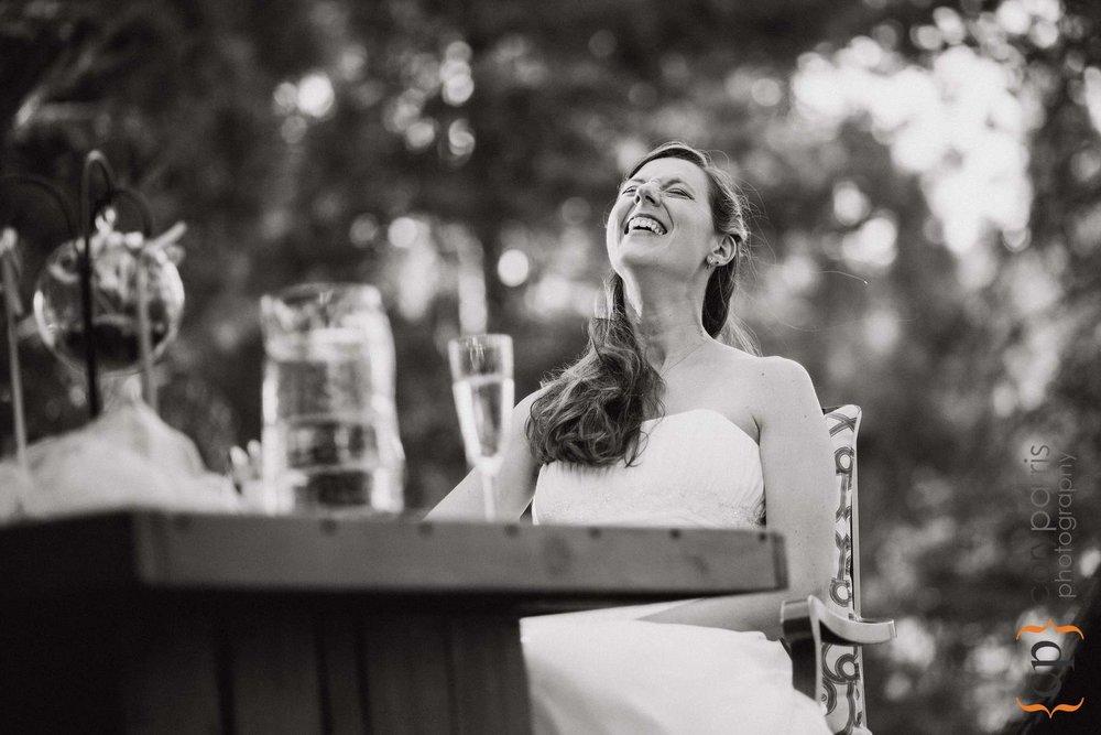 Karen laughing during at toast