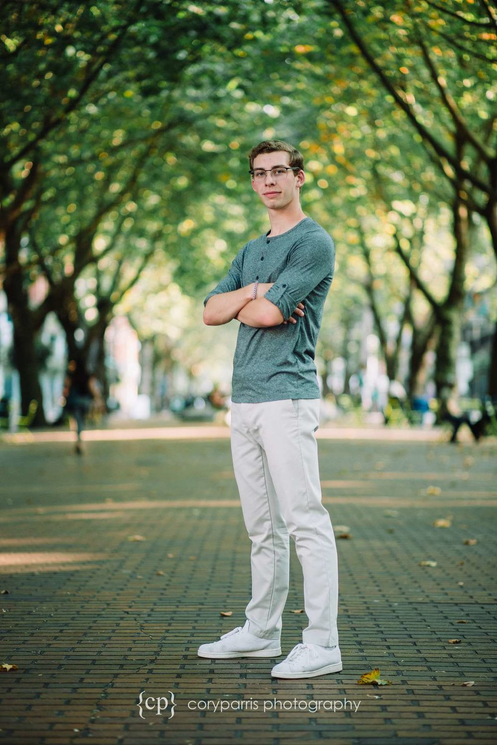 Senior portrait in Occidental Square in Seattle