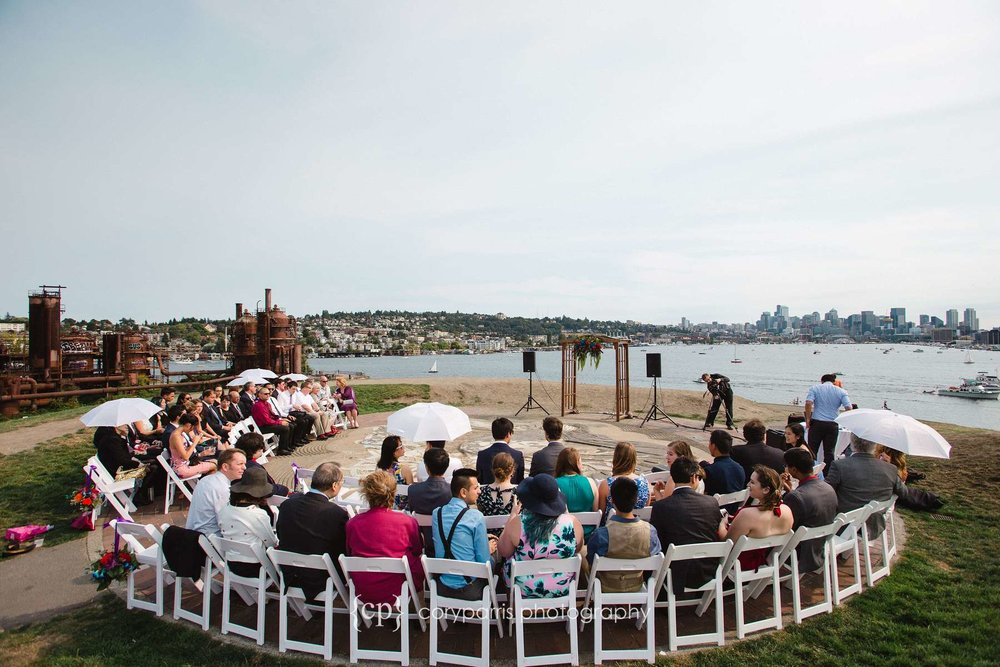 Wedding ceremony on the top of Kite Hill at Gas Works Park.