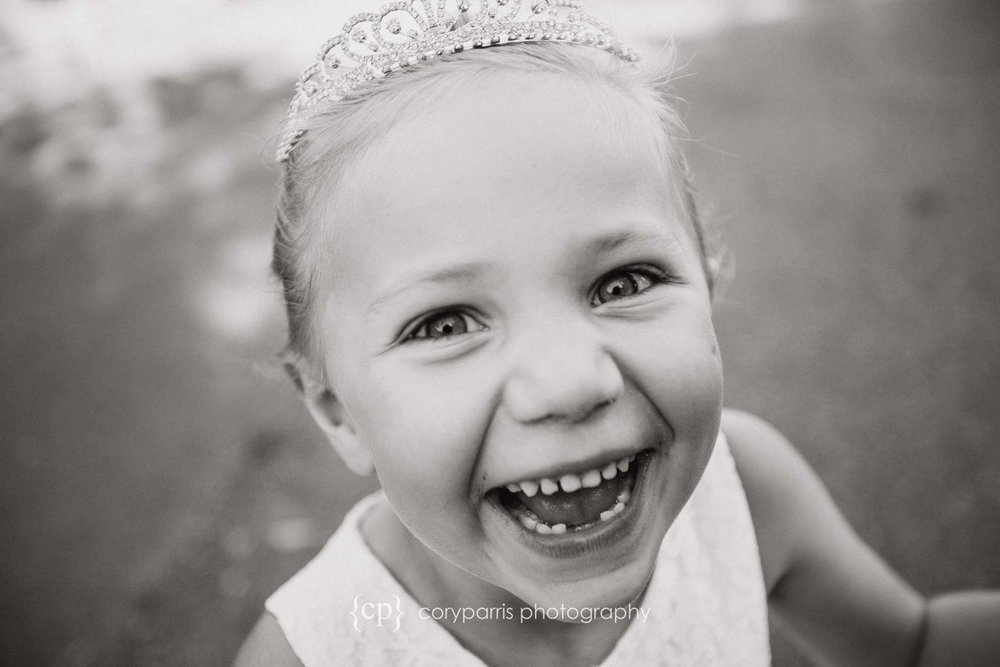 Laughing flower girl Seattle wedding photographer
