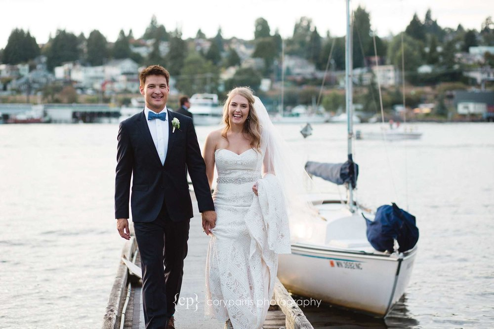 Bride and groom on a dock on Lake Union wedding photographer