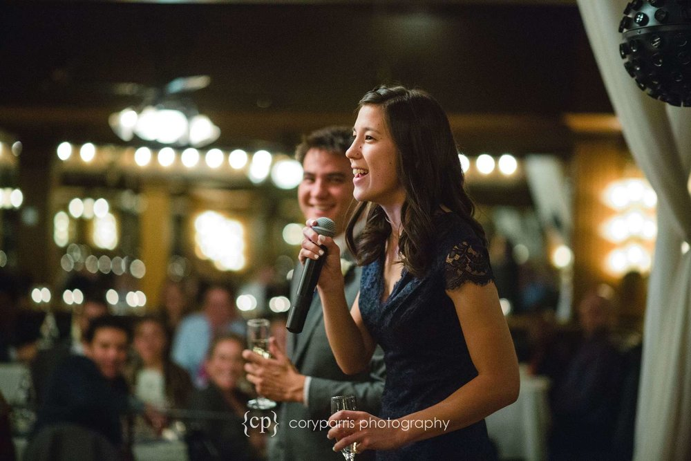 Toasts at Lake Union Cafe wedding reception