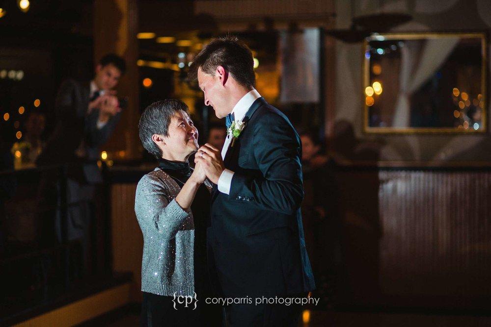 Mother son dance at Lake Union Cafe wedding