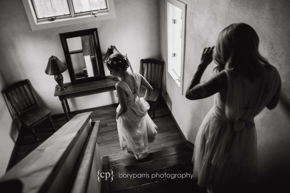 Bride getting ready at DeLille Cellars wedding