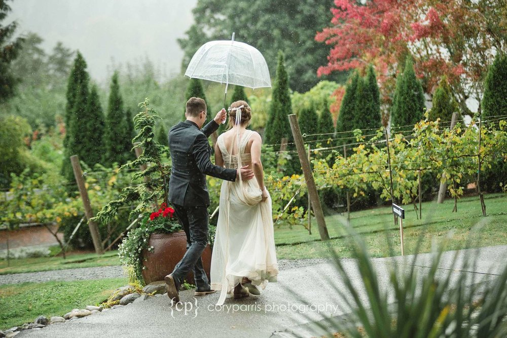Walking together in the rain after getting married.