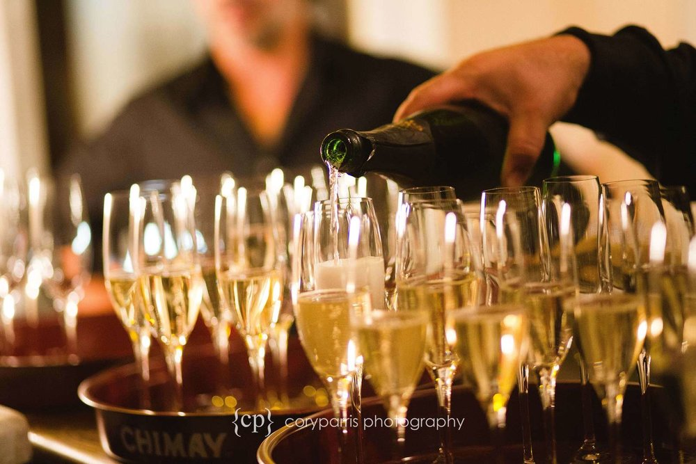 Champagne glasses at DeLille Cellars Chateau wedding