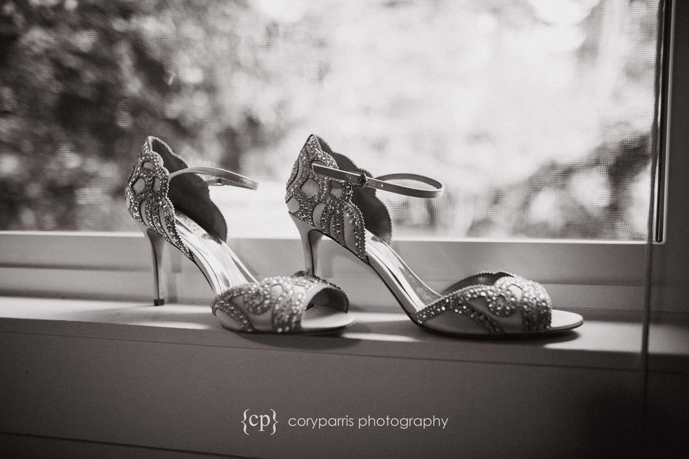 B&W wedding shoes photography