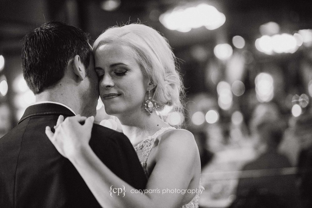 First dance in b&w at Lake Union Cafe wedding reception