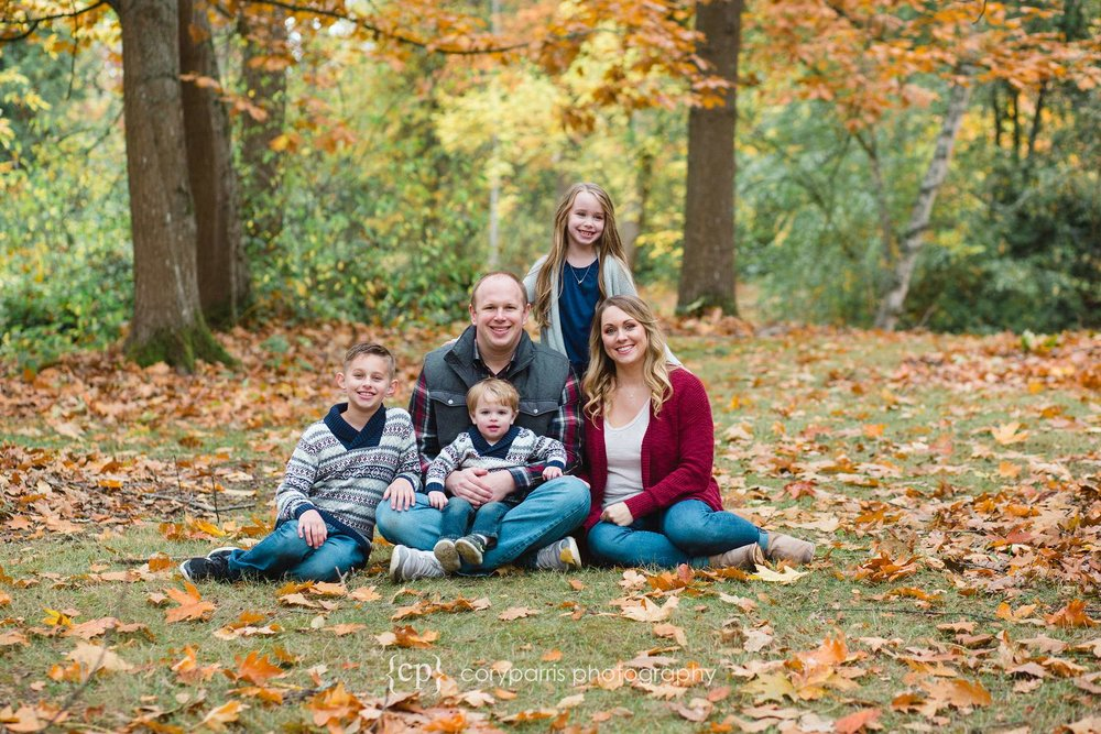 Seattle family portraits at Washington Park Arboretum in fall leaves