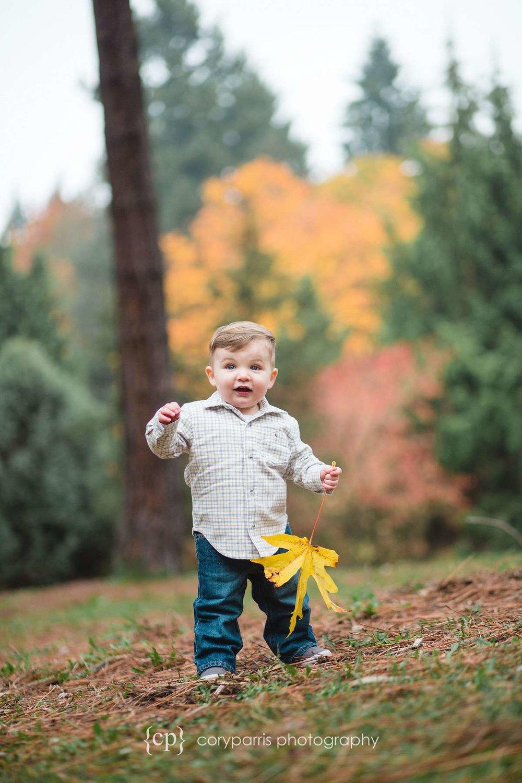 Kids portraits Seattle fall leaves