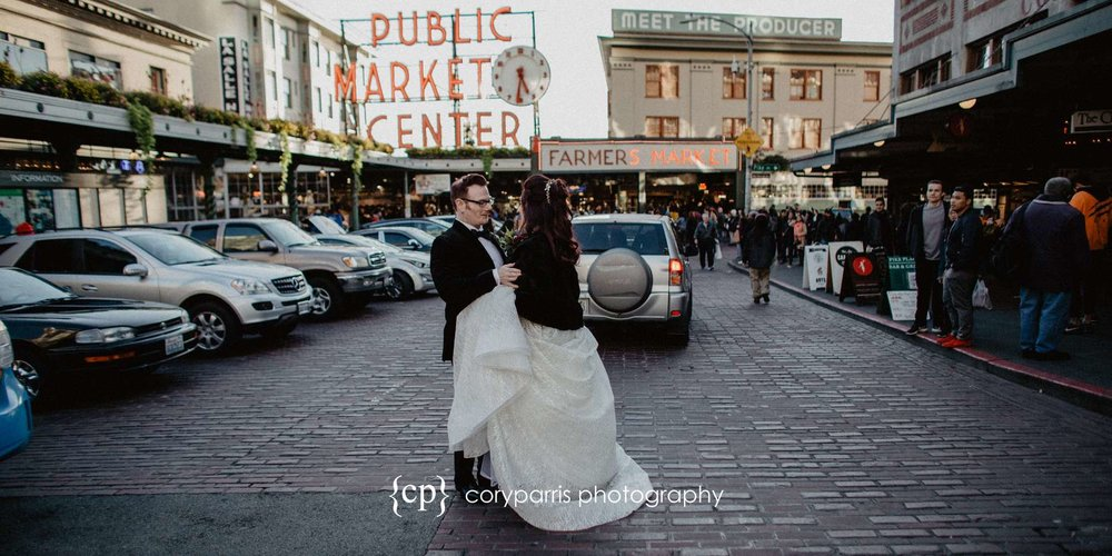 Wedding photography at Pike Place Market in Seattle