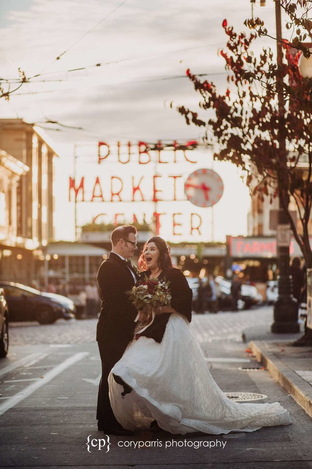 Seattle wedding photography at Pike Place Market