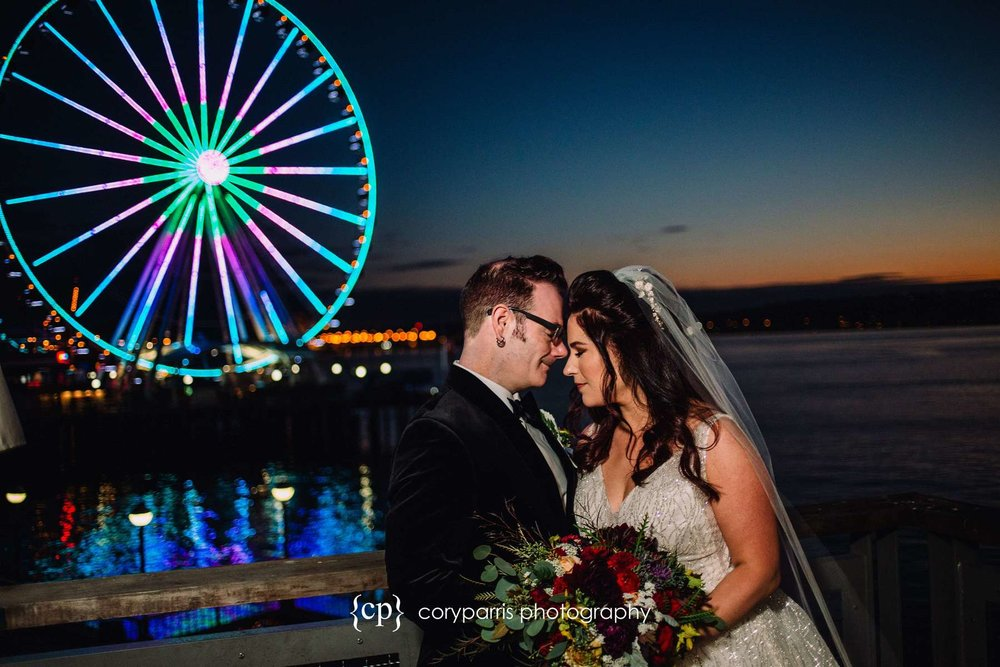 Sunset portrait of wedding couple at the Seattle waterfront
