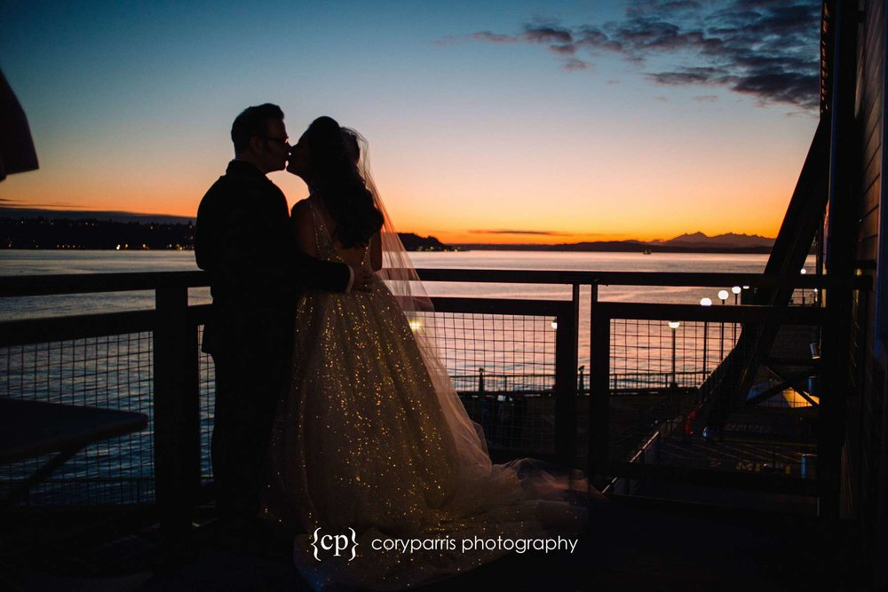 Sunset at the Seattle waterfront wedding