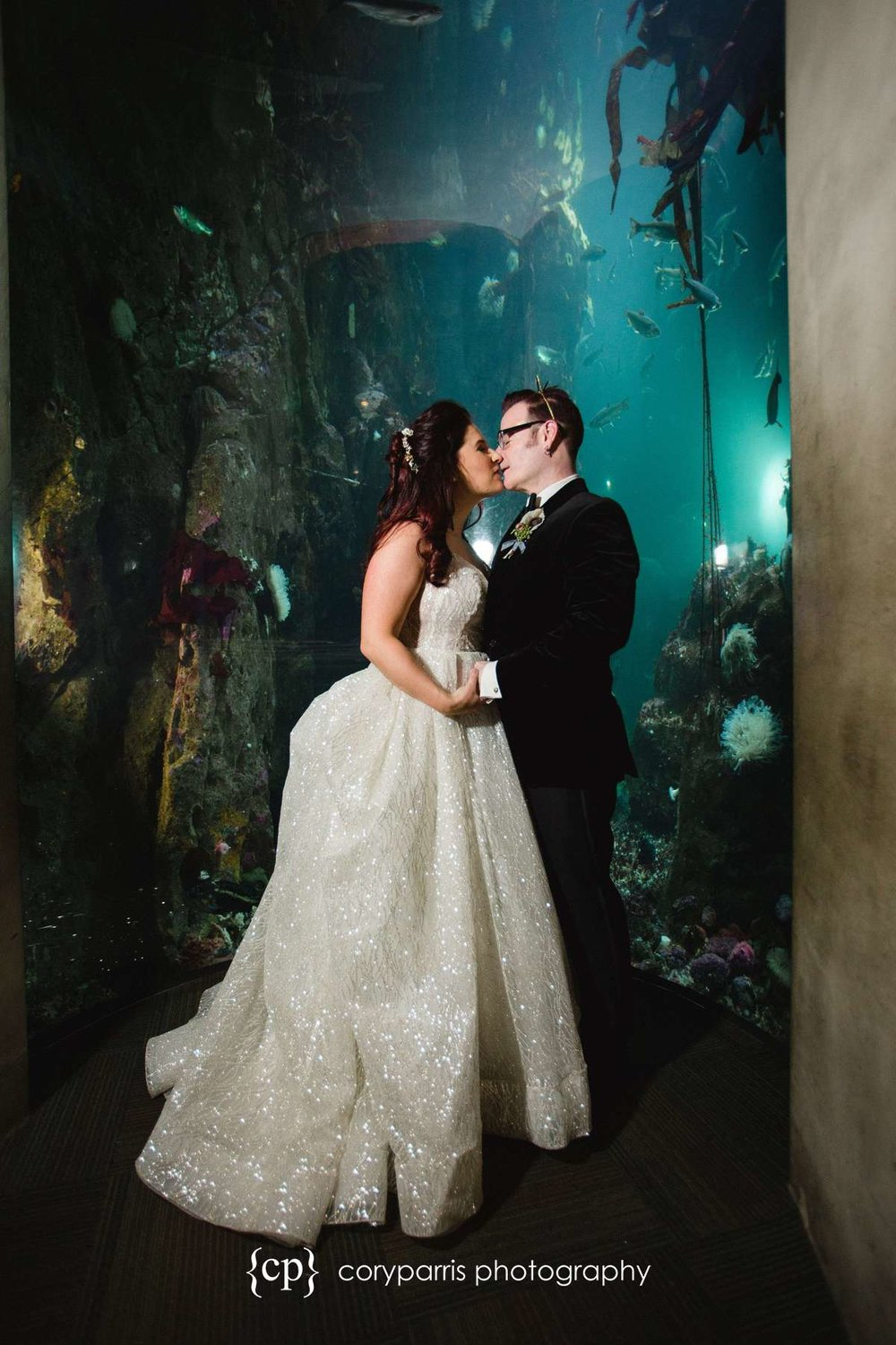 Wedding portrait at the Seattle Aquarium