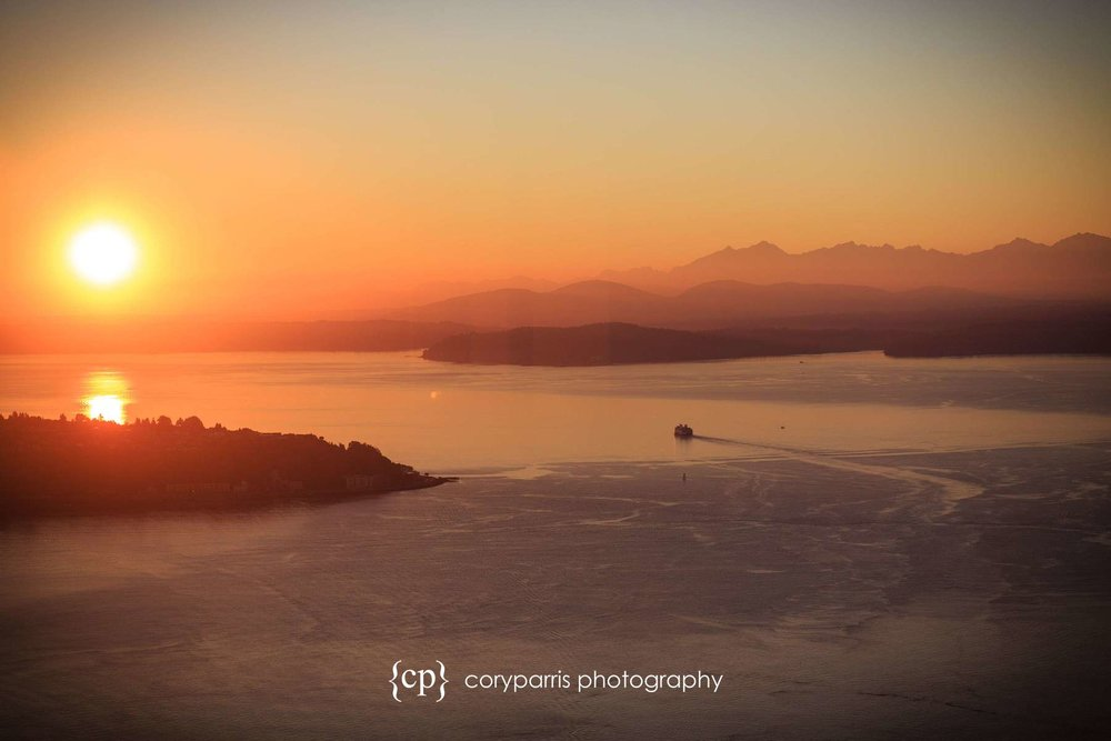 Seattle Sunset with a Ferry from Columbia Tower Club