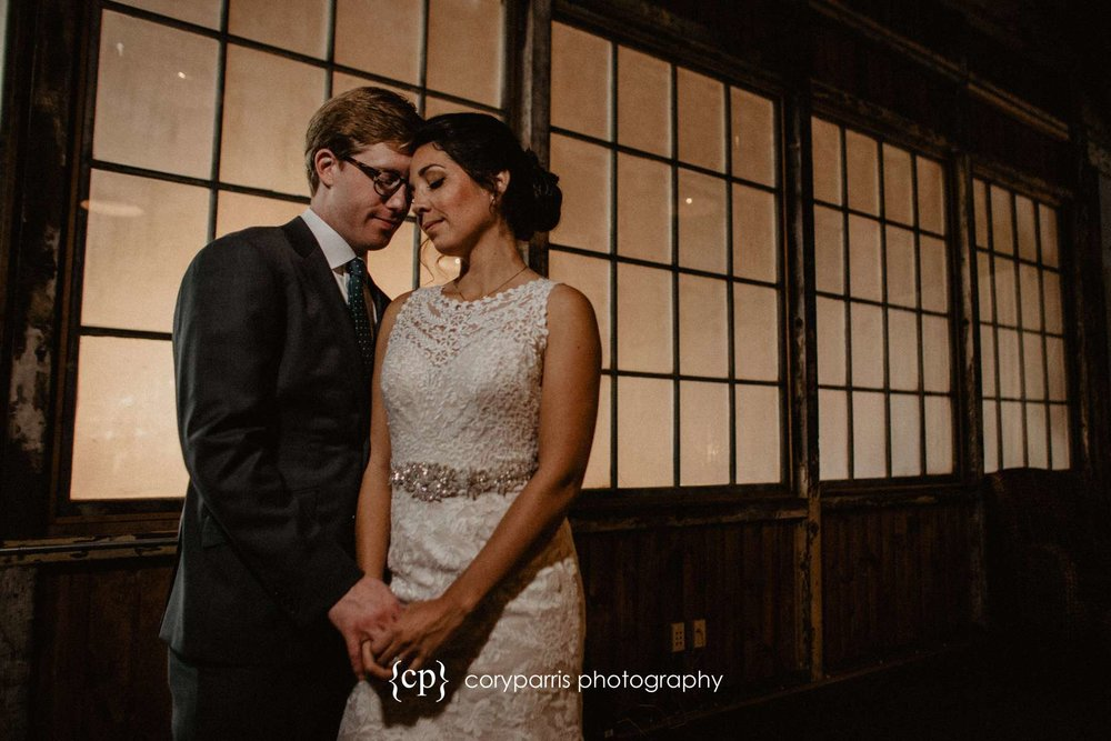 Romantic wedding portrait at SODO Park