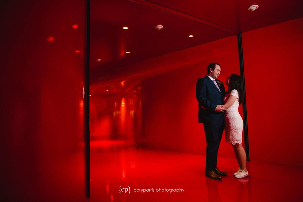 The red room at the Seattle Public Library.