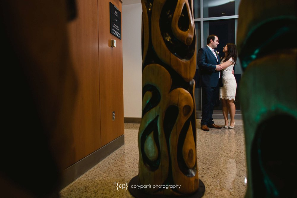 Wedding portrait at the Seattle courthouse.