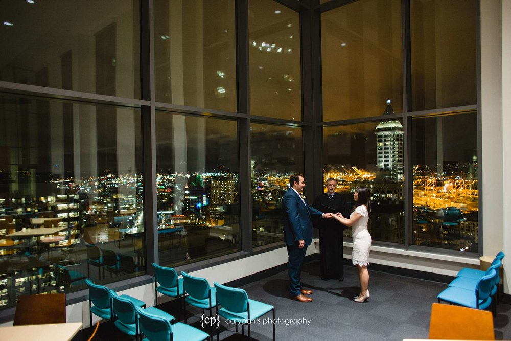 I love the view from the courthouse in Seattle during an elopement.