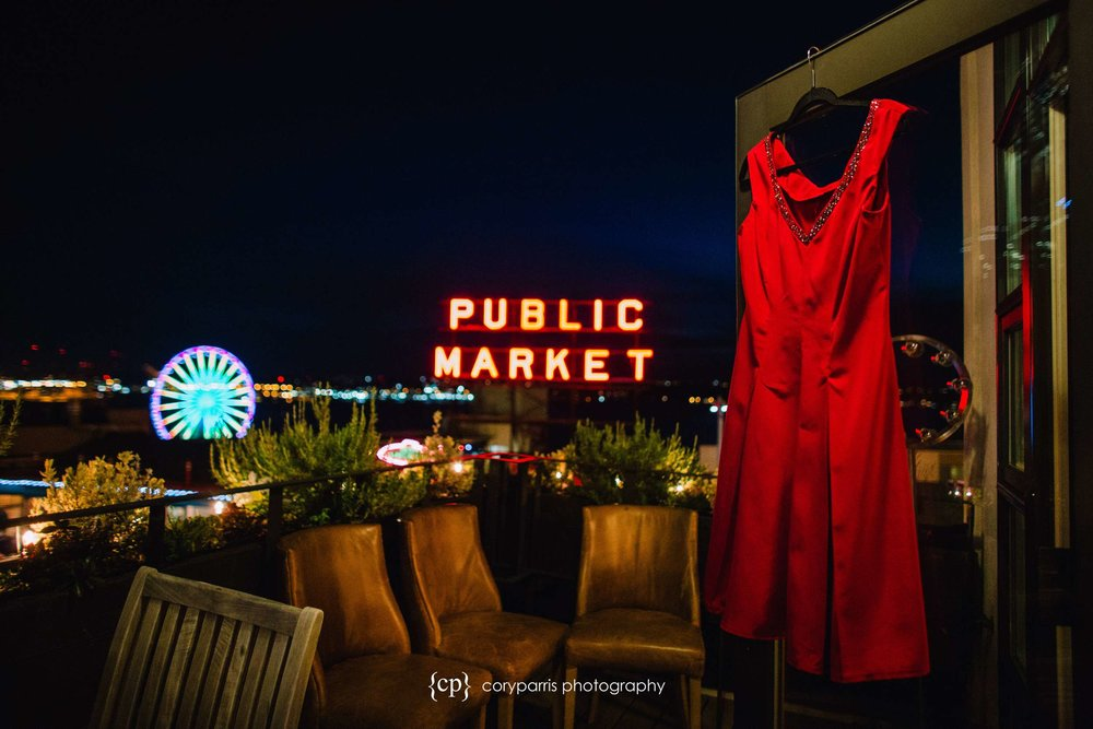 Red wedding dress with the Public Market sign