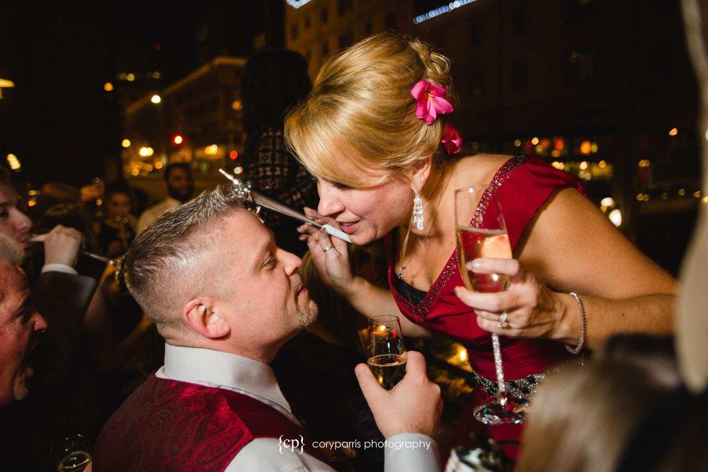 New Year's Eve wedding kiss