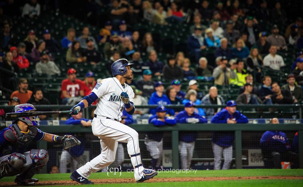 Access to events is one of the great side benefits of being a photographer. This is Robinson Cano as he hits his 300th home run becoming just the third player to hit 300 as a second baseman. Very cool moment.