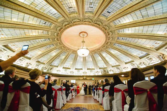 Wedding ceremony at the Arctic Club Dome Room.