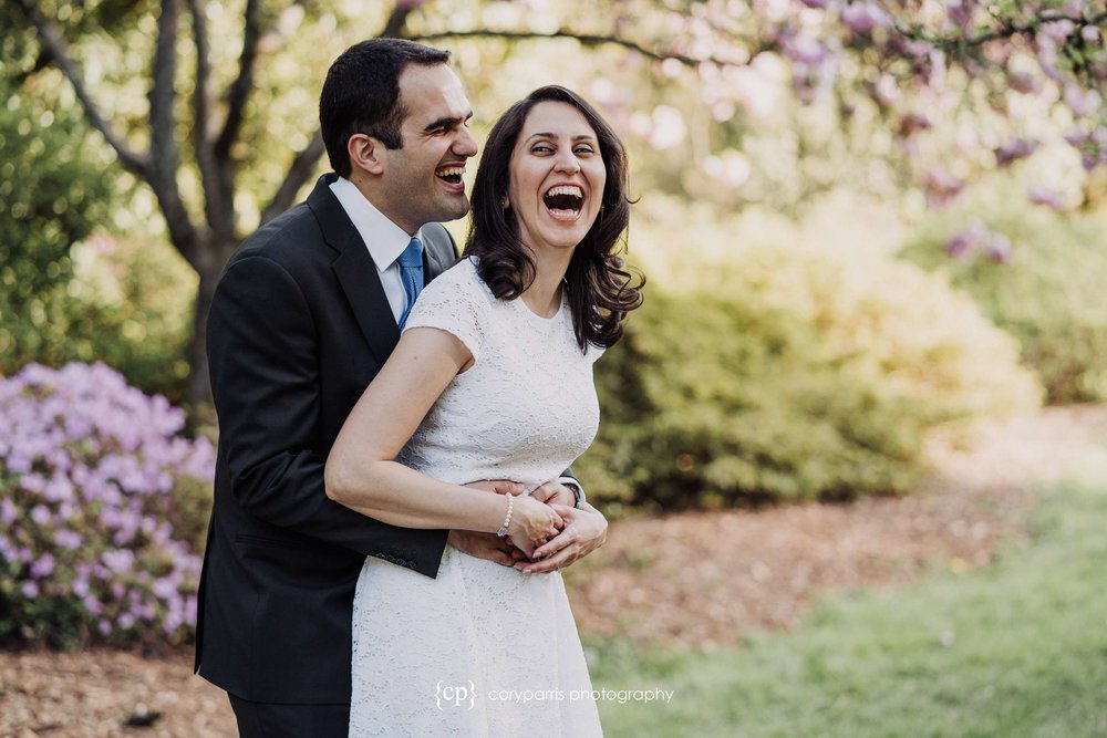 Andisheh and Babak laughing during their portraits at the Washington Park Arboretum!