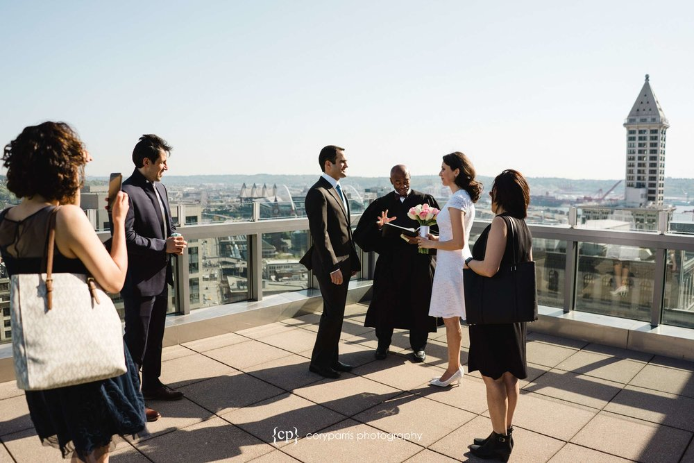Rooftop ceremony at the Seattle Courthouse